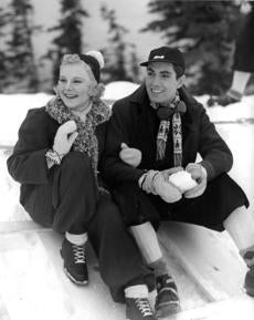 "Sonja Henie and Tyrone Power in ""Thin Ice."""