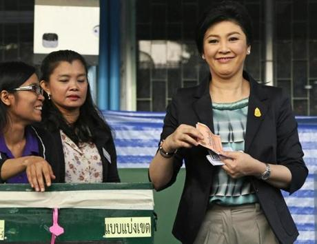 Prime Minister Yingluck Shinawatra cast her ballot in Bangkok. The Democrat Party charges she is corrupt.