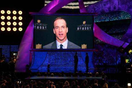 Peyton Manning appeared on screen to accept the Most Valuable Player award.