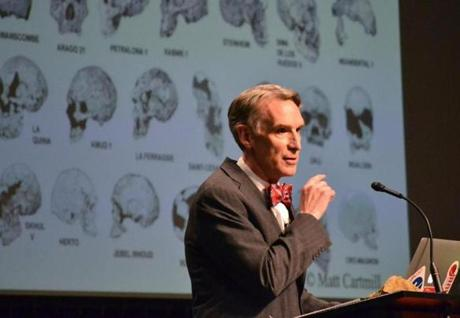 Bill Nye during a debate on evolution with Creation Museum head Ken Ham.