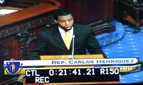 Rep. Carlos Henriquez addressed the Massachusetts House Thursday.