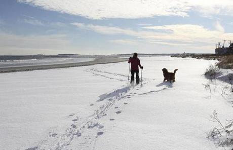 Resident Heather Cyr went skiing with her dog Millie on the beach.
