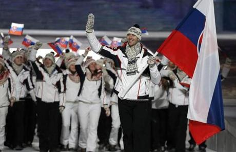 Slovakia's flag-bearer and Boston Bruin Zdeno Chara led his country's contingent  at the opening ceremony