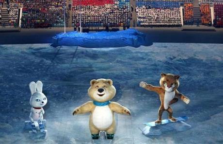 The mascots of the 2014 Winter Olympics in Sochi were displayed.