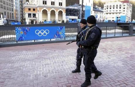 Russian security forces in Rosa Khutor on Friday.