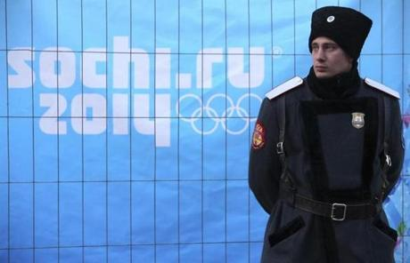 A Russian cossack stood guard on a street in Rosa Khutor.