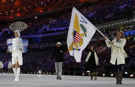 Flag-bearer Jasmine Campbell of the US Virgin Islands led her country's contingent.
