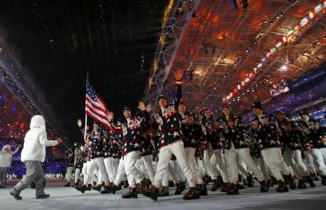 Flag-bearer Todd Lodwick led the US delegation during the Opening Ceremony of the 2014 Winter Olympic s in Sochi.
