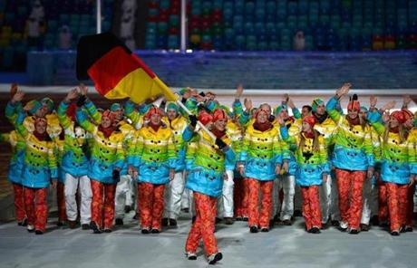 Skier Maria Hoefl-Riesch of Germany carried the country's  flag during the Opening Ceremony.