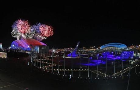 Fireworks went off over the Fisht Olympic Stadium at the start of the Opening Ceremony in Sochi.