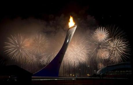 Fireworks went off after the Olympic Cauldron was lit during the Opening Ceremony at the 2014 Winter Olympics in Sochi.