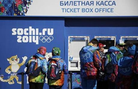 Workers lined up outside a ticket box office in the Olympic Plaza in Sochi.
