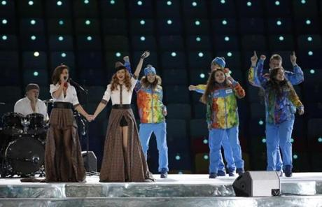 Yulia Volkovaa and Lena Katina of Russian pop duo Tatu performed before the start of the Opening Ceremony.