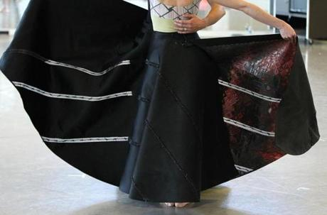 The dancers' skirts were designer Ralph Rucci's idea of connecting the costumes to the backdrop, self-portraits by Close.