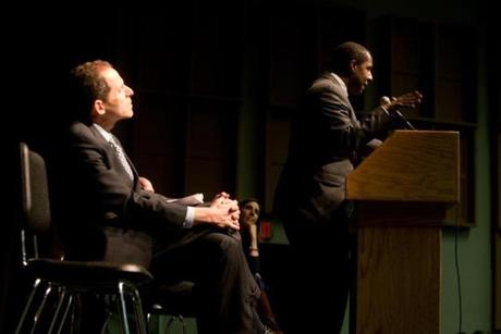 Newton Mayor Setti Warren spoke at the meeting as school superintendant David Fleishman listened.