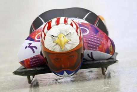 The American eagle points the way for Katie Uhlaender during skeleton competition.