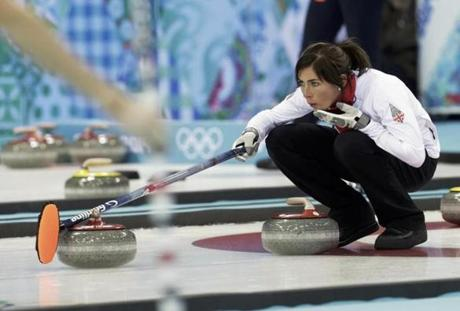 Britain skip Eve Muirhead lines up her shot in curling.