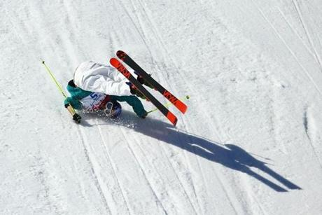 Russell Henshaw of Australia tumbles during the slopestyle.