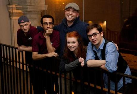 From left: Actors Alex Pollock, Peter Anderson, Brenna Fitzgerald, and Steven Chueka, with director Shawn LaCount behind them at the Modern Theatre.