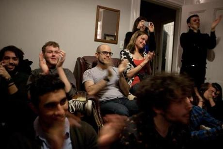 Audience members applaud a Groupmuse performance in Jamaica Plain.