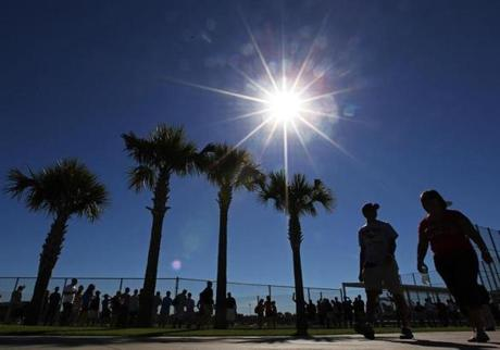 The Red Sox held their first official spring training workout on Monday.