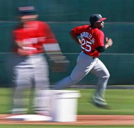 Jackie Bradley, Jr. did some sprints in the outfield.
