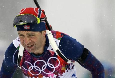 Norway's 40-year-old Ole Einar Bjoerndalen, a 12-time medalist over six Olympiads, competes in the biathlon 15 kilometer mass-start.