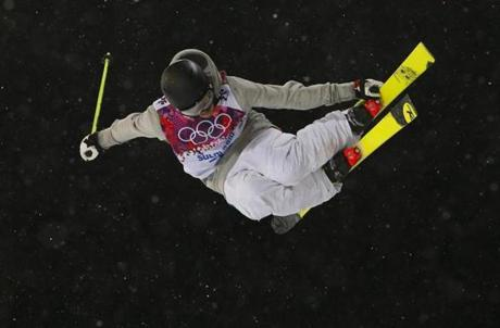 France's Benoit Valentin was a night flyer during qualifications for the men's freestyle skiing halfpipe.