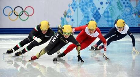 A quartet of short-track skaters is off to the races in the women's 1,000-meter heats.