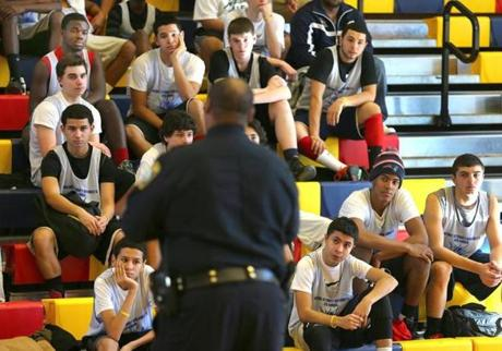 Boston Police Superintendent in Chief William Gross spoke about gun violence during a break in the sixth annual Basketball for Peace tournament at the Kroc Center in Dorchester.