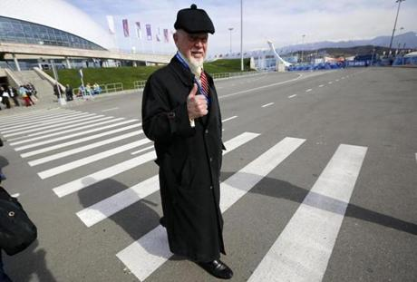 NHL commentator (and former Bruins coach) Don Cherry was spotted on a Sochi street.