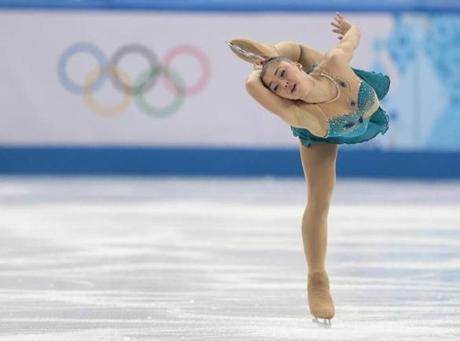 Gabrielle Daleman of Canada got herself in a pretzel-like pose during her free skate.