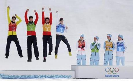 Hi yo, silver! The German team celebrated a second-place finish in Nordic combined with a podium leap.
