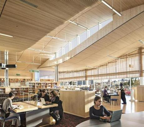 Glass walls on three sides of the library bring in a lot of natural light.