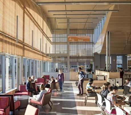 There are no interior walls, giving the building a sense of community that is different from the typical library feel created by separate areas for different age groups.