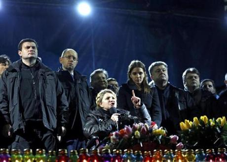 Ukrainian opposition leader Yulia Tymoshenko addressed antigovernment protesters gathered in Independence Square.