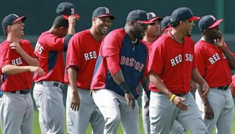 Players smiled during the morning exercise.