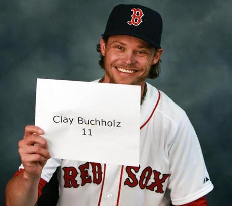 Clay Buchholz got ready to pose.