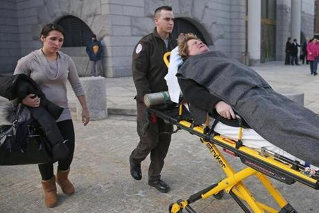 Linda Pelletier was taken to Massachusetts General Hospital after collapsing in the courthouse on Monday.