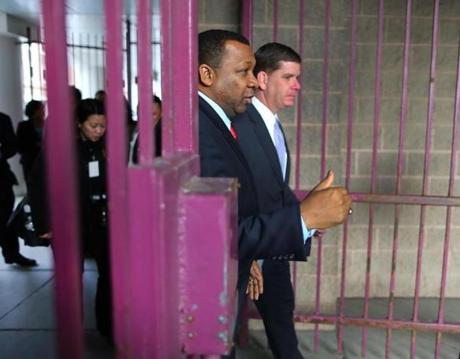 Mayor Marty Walsh toured the South Bay House of Correction with Sheriff Steven W. Tompkins.