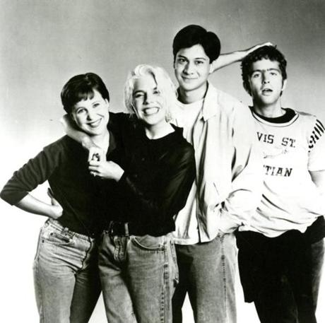 Tanya Donelly (second from left) with the circa 1991 members of Throwing Muses (from left) Kristin Hersh, Fred Abong, and David Narcizo.