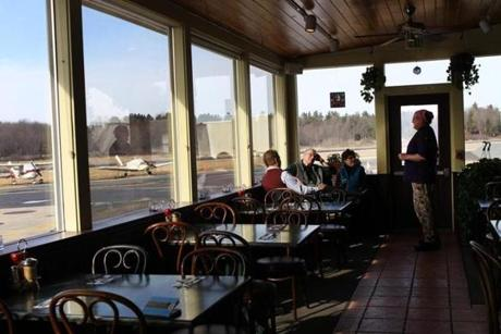 At Nancy's Air Field Cafe in Stow, diners can watch small aircraft taking off and landing.