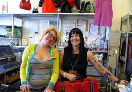 "16davissquare - Cassandra Steed and Lisa DeFreitas are dressed for a ""Sassy Saturday"" at Buffalo Exchange in Davis Square. (David Lyon for The Boston Globe)"