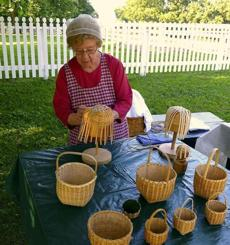 Vivian Yeast demonstrated basket weaving Shaker Village of Pleasant Hill in Harrodsburg, Ky.