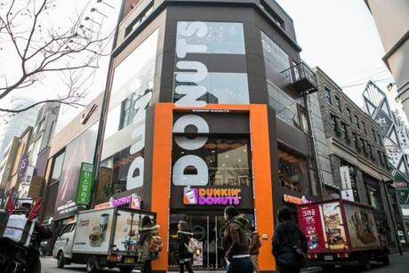 In contrast to the small, squat stores often found in Massachusetts, some Dunkin' locations in South Korea rise as tall as four stories, designed as places to linger.