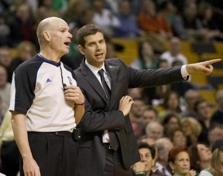Stevens spoke with referee Gary Zielinski after multiple calls.