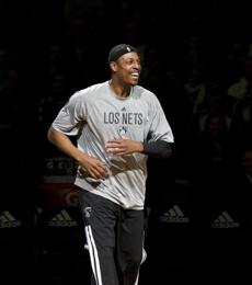 Pierce was introduced to the fans before the game.