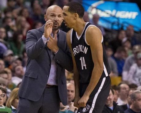 Boston MA 3/7/2014 The Brooklyn Nets head coach Jason Kidd giving advice to Shaun Livingston during third quarter action against the Boston Celtics at TD Garden on Friday March 7, 2014. (Matthew J. Lee/Globe staff) Topic: Celtics-Nets Reporter: Baxter Holmes