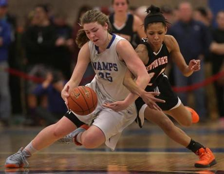 Braintree's Molly Reagan (35) and Newton North's Infiniti Thomas-Waheed (24) tangled as they raced for a loose ball in the D1 girls final at UMass Boston.