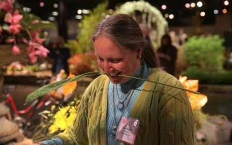 Kristen Van Dijk  of Sudbury  set up her flower exhibit at the Boston Flower and Garden Show at the Seaport World Trade Center.